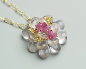 Rose Quartz Necklace. Rose Quartz Bloom Necklace with Pink and Yellow Sapphire Clusters