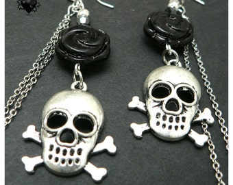 CLEARANCE SALE 50% OFF - Skull and Crossbones with Roses pirate earrings
