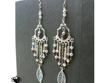 CLEARANCE SALE 40% OFF - Bohemian Silver and Purple Leaf extra long earrings