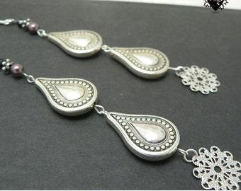 Intricate Silver Tear Drop extra-long shoulder duster earrings