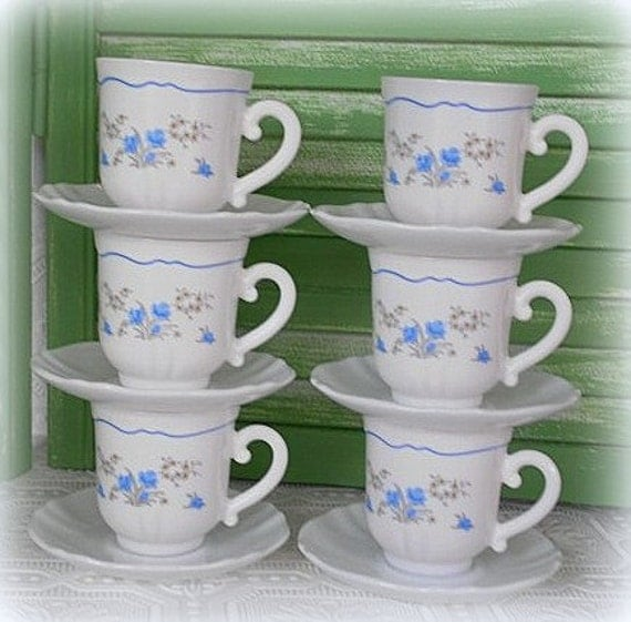 Shabby French Blue Floral Acropal France Coffee Tea Cups and Saucers