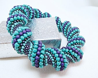 Summertime Blues Cellini Spiral Beadwoven Bracelet