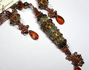 aNTiQueD aMBeR JeWeLS Handmade Lampwork Art Glass Earrings and Lariat Necklace Set SRAJD