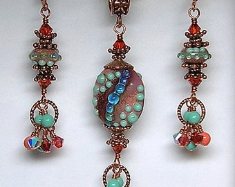 TRiBaL TeRRaCoTTa TuRQuoiSe and CoRaL Handmade Lampwork Art Glass Earrings Pendant and Bracelet Set by GLiTTeRBuG oRiGiNaLS SRAJD