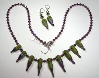 Purple and Green Drops Handmade Lampwork Art Glass Earrings and Necklace by GLiTTeRBuG oRiGiNaLS SRAJD