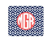 Monogrammed Mousepad with Aztec Print   Navy   Hot Pink   Coral   Mint