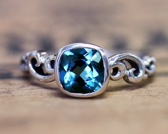 London blue topaz ring, December birthstone jewelry, ocean wave ring, bezel set ring, gemstone ring sterling silver, water dream, size 6