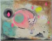 Abstract Bunny Landscape Painting Mixed Media Canvas Original Contemporary Illustration Modern Art