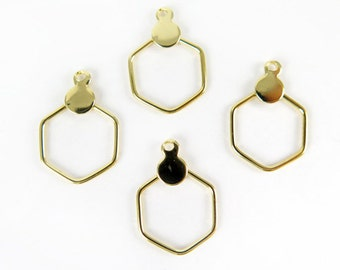 Vintage Gold Plated Circle Hexagon Hoop Charms (10X) (V493)
