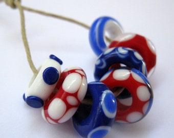 4th of July Red White and Blue Handmade Lampwork Large Hole Bracelet Beads SRA