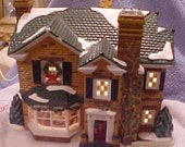 Dept. 56 Snow VIllage House - 2000 Holly Lane - Chimneys - Christmas Trees - Holly - Wreaths - Light up!