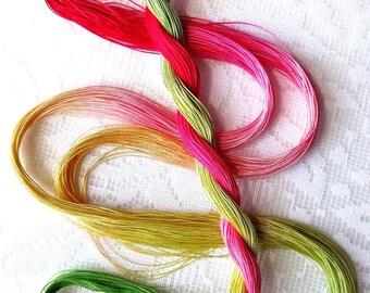 "Size 50 ""Rhubarb Pie"" hand dyed thread 6 cord cordonnet tatting crochet cotton"