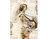 Vintage Woman Parasol Clip Art Printable Art  Decoupage Paper Instant Download Digital Graphics Commercial Use