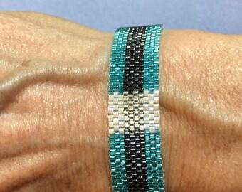 Peyote Stitch Bracelet in Turquoise and Black Stripe