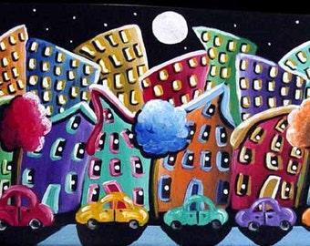 Funky City Fun Cars Neighborhood Cityscape Colorful Whimsical Folk Art Original Painting