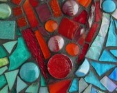 Heart mosaic print on metal magnet 2 x 3