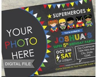 "Superheroes Birthday Invitation Party Chalkboard Super Hero - Photo - Digital Invite - 5"" x 7"" - Digital Printable"