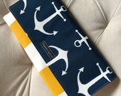 Nautical Navy, Yellow and White Anchor and Cabana Stripe Clutch