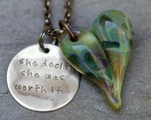 Glass Heart Pendant Necklace Boro Lampwork Handstamped Nickel Tag - She Decided She was Worth it