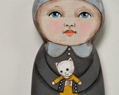 Kitty Dolly Original Hand Painted Wood Sculpture Painting Contemporary Folk Art OOAK