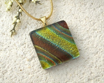 Golden Brown Necklace, Fused Glass Pendant, Dichroic Fused Glass Jewelry, Earthtone Necklace, Gold Necklace, Striped Necklace  060815p107