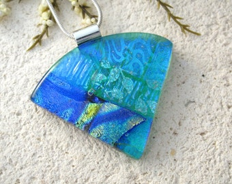 Emerald Gold Blue Necklace, Dichroic  Necklace, Fused Glass Jewelry,  Dichroic Fused Glass Pendant, Wedge Statement Necklace 062315p112