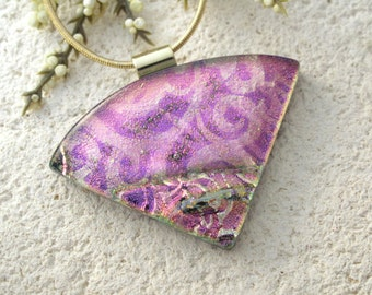 Pink Fuchsia Gold Necklace, Dichroic Jewelry, Wedge Necklace, Dichroic  Pendant, Fused Glass Jewelry, Dichroic Jewelry,Gold Chain 063015p108