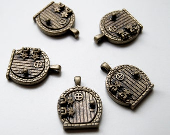 FIVE Antiqued Brass Fairy Door Lockets