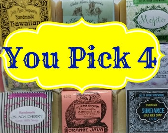 Your choice of 4 full sized Goat Milk Soaps, free shipping, ready to ship,  Olive Oil, honey, sensitive skin, facial soap, shaving soap