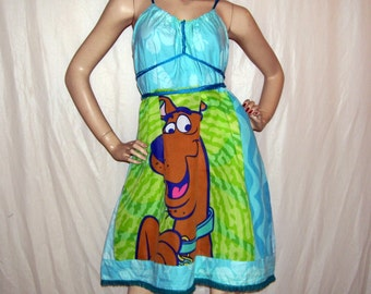 Scooby Doo Dress OOAK Upcycled Sundress Geek Summer Scooby Dress Adult M L XL Plus Size