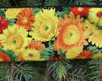 Sunflowers chopstick pouch, knitting needle pouch, crochet hook pouch, long pen and pencil case, The Sleek