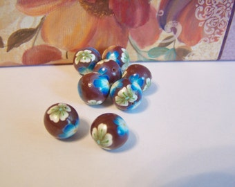 set of 8 brown round handmade polymer clay blue and white flower beads 12mm