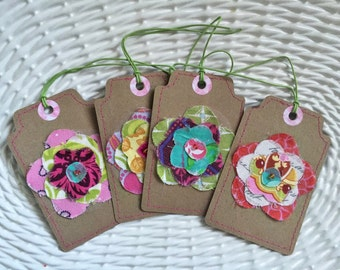 Tags, Gift Tags, Fabric Gift Tags, Sewn Gift Tags, Scrapbooking Tags - Set of 4 Floral 05