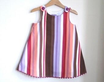 Purple Striped Girls Dress, Newborn, Toddler, Girls Beach Umbrella Striped Dress - Sizes Newborn to Girls Size 6 - Children's Clothing