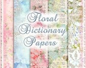 Floral Dictionary Background Papers Shabby Distressing Vintage Flowers INSTANT DOWNLOAD Digital Printable