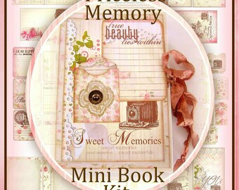 Priceless Memory Vintage Camera Mini 12 Page Flip Book/ Journal with Templates, Patterns, Embellishments, Directions INSTANT DOWLOAD Digital