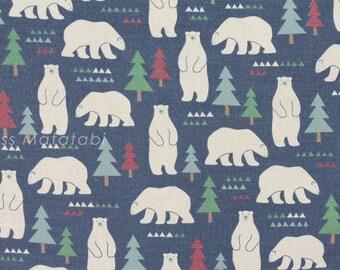 Japanese Fabric Kokka Nordic bears - blue - 50cm