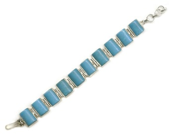 Sale: Blue Chrysocolla Sterling Silver Bracelet