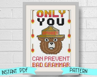 Funny Counted Cross Stitch Pattern - Smokey the Grammar Police Funny Instant Download PDF