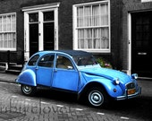 Blue Beetle, Citroën 2CV, BUG, Amsterdam, Vintage Blue Car,Masculine Art, Classic Car Photo, Black and Blue, VW BUG, 1940s Car, Cool Old Car
