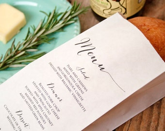 Wedding Menu Bag  - Bread, Baguette, Silverware, or Candy Bag - Wedding Reception Menu - Birthday - Anniversary - 25 Slim White Bags