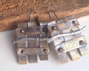 Etsy, Etsy Jewelry, Metalwork Earrings, Artisan Earrings, Soldered, Riveted, Brass, Sterling Silver, Copper, Mixed Metal Earrings