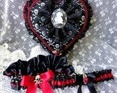 Black Lace-Skulls & Blood Red Satin Heart on Heart Ring Pillow/Garter Set-Goth-Pirate-Vampire-Dark Victorian-Romantic-OOAK