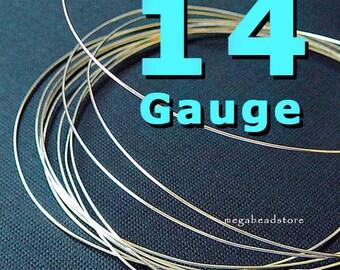 14 Gauge Thick Sterling Silver Wire Round Half Hard - 2 ft