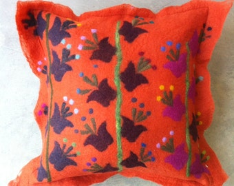 orange tulip pillow