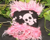 Piratical Skull and Crossbones and Pink Fur Art Cuff bracelet