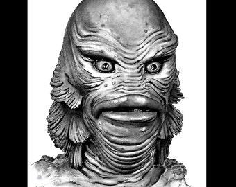 "Print 8x10"" - Gill-Man - Creature of the Black Lagoon Dark Art Science Fiction Horror Classic Monsters Swamp Frankenstein Lowbrow Pop"