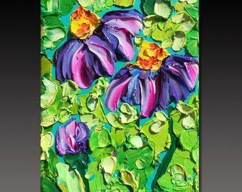 B. Sasik Original Oil Painting  Garden ART DAISIES Painting