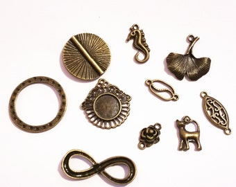 10pc mix style antique bronze metal jewelry findings-9991