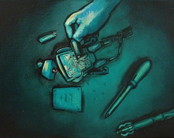 """Broken Robot COMIC INSPIRED Original Painting 12x16"""""""